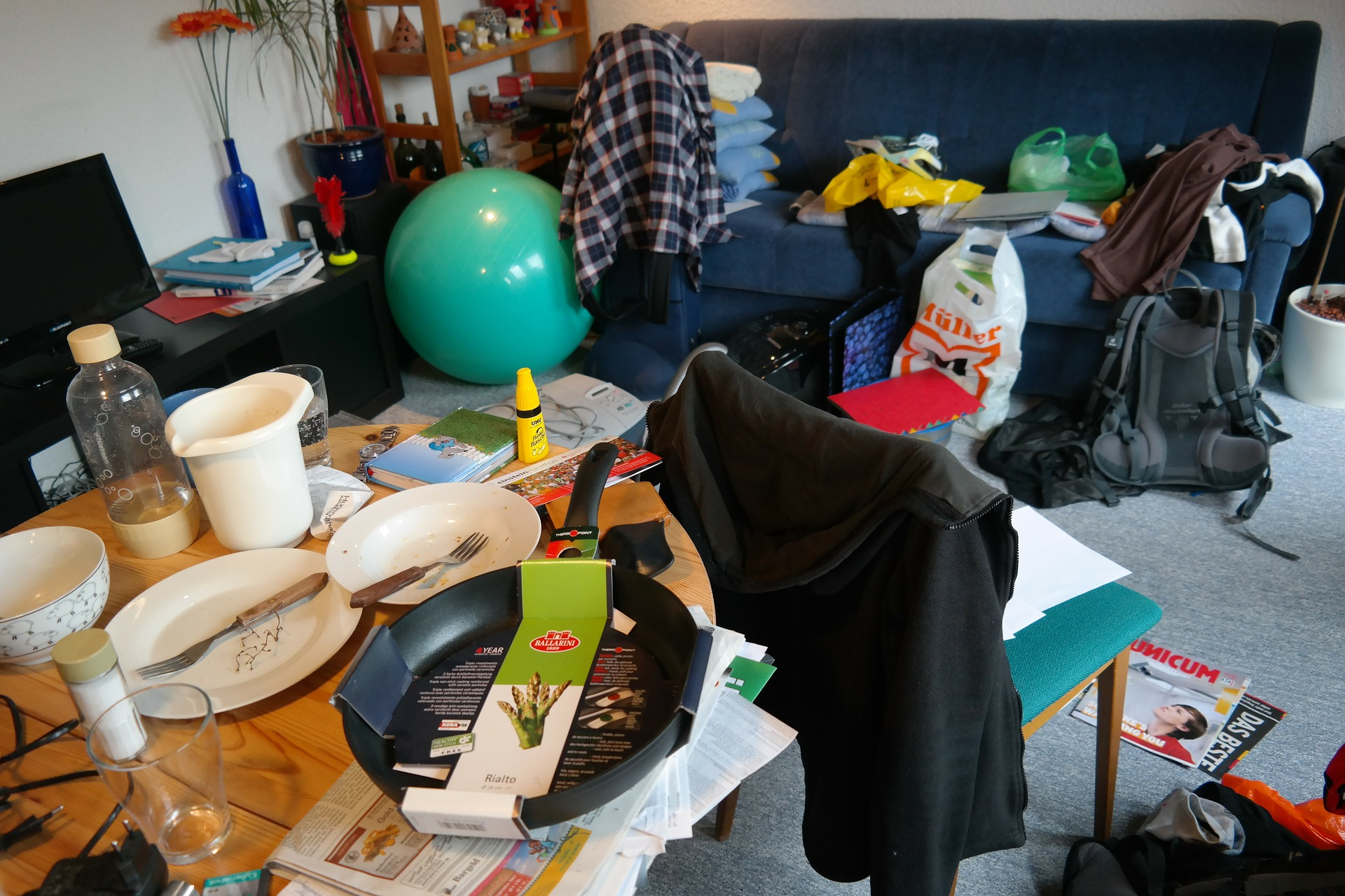 dirty room full of clutter